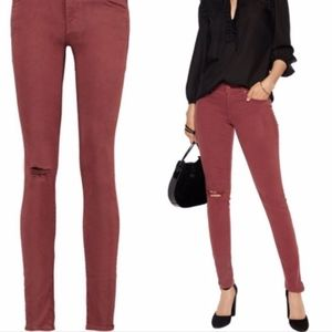 MOTHER The Looker Burgundy Skinny Jeans